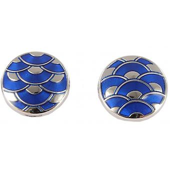 David Aster Round Enamel Wave Cufflinks - Electric Blue