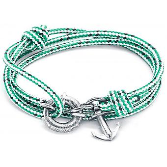 Anchor and Crew Clyde Silver and Rope Bracelet - Green Dash
