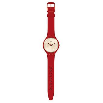 Swatch Svur100 Skinhot Cream & Red Leather Watch
