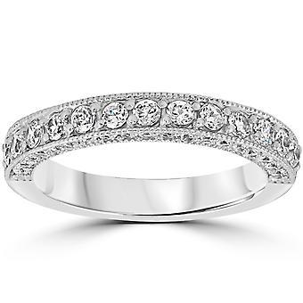1 1/6ct Diamond Vintage Heirloom Wedding Ring 14K White Gold