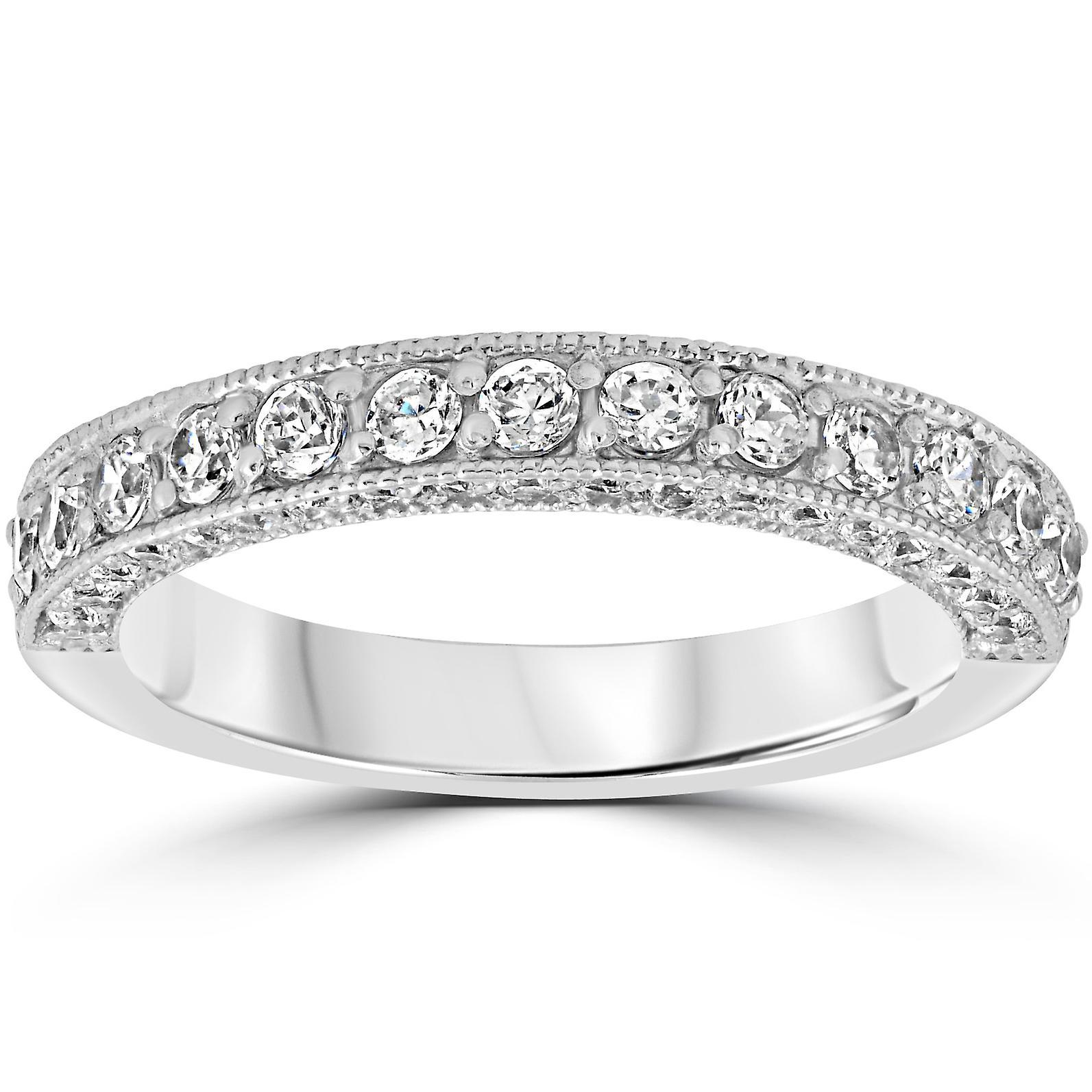 1 1 6ct Diamond Vintage Heirloom mariage sacue 14K blanc or
