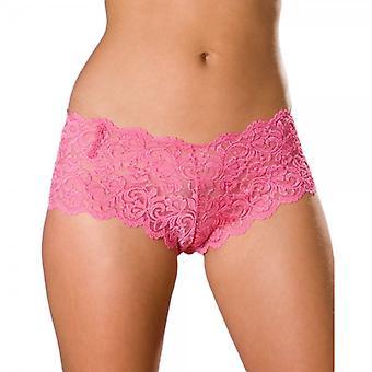 Camille Womens dames roze Lace Boxershorts 10-20
