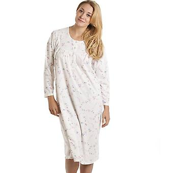 Camille Classic White And Pink Floral Print Long Sleeve Nightdress