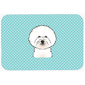 Checkerboard Blue Bichon Frise Mouse Pad, Hot Pad or Trivet