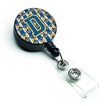 Carrete retráctil insignia letra D fútbol azul y oro