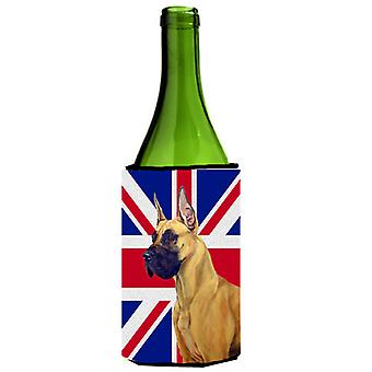 Great Dane with English Union Jack British Flag Wine Bottle Beverage Insulator H