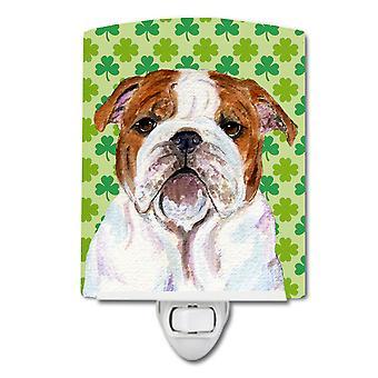 Bulldogge Englisch St. Patricks Tag Shamrock Portrait Keramik Nachtlicht