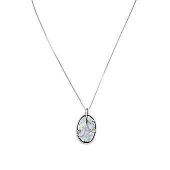18 tommers Sterling sølv kjede med 17 X 31 mm ovale gamle romerske Glass og Wire Design anheng