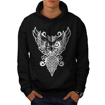 Graphic Owl Men BlackHoodie | Wellcoda