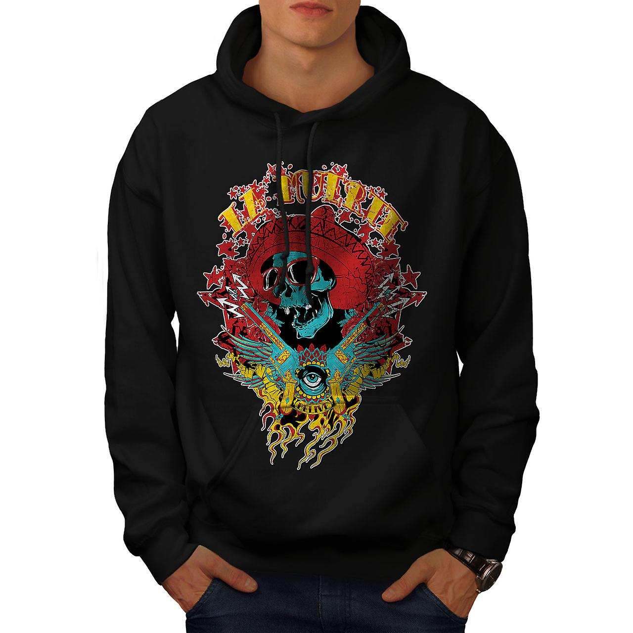 La Muerte Party Skull Men Black Hoodie | Wellcoda