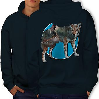 Wolf Beast Nature Animal Men NavyHoodie Back | Wellcoda