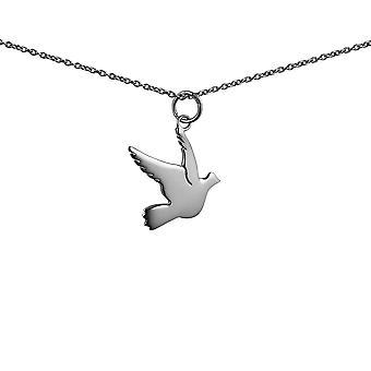 Серебряная подвеска птица 17x19mm с Роло цепи 24 дюймов