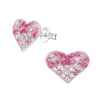 Heart - 925 Sterling Silver Crystal Ear Studs - W18303x