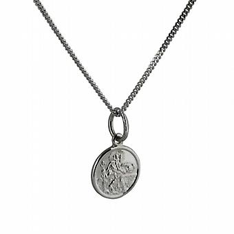 9ct White Gold 10mm round St Christoper Pendant with a curb Chain 20 inches Only Suitable for Children