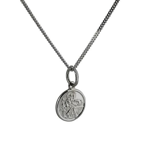 9ct White Gold 10mm round St Christoper Pendant with a curb Chain 16 inches Only Suitable for Children