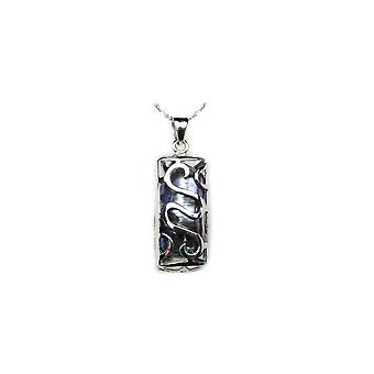 Woman-man Tiki Black Pearl pendant necklace and Silver 925/1000