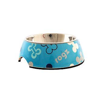 Rogz Lapz Trendy Bubble Bowl Blue Bones