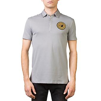 Versace Collection Men's Medusa Logo Regular Fit Pima Polo Shirt Gray