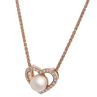 Orphelia Silver 925 Pendant Rose Heart Fresh Water Pearl  ZH-7233/RG