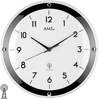 Watch wall clock radio controlled wall clock in mineral glass Ø 31 cm AMS