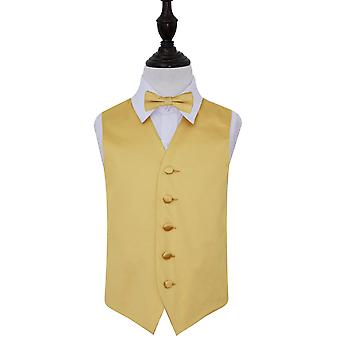 Gold Plain Satin Wedding Waistcoat & Bow Tie Set for Boys