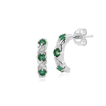 Gemondo 9ct White Gold Emerald and Diamond Half Hoop Earrings