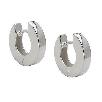 Creole 13x3mm hinged flip top shiny Silver 925