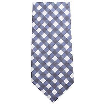 Knightsbridge Neckwear Checked Tie - Dark Blue/White