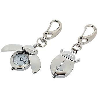 Gift Time Products Ladybird Clock Key Ring - Silver