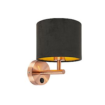 QAZQA Modern Wall Lamp Copper with Shade 18/18/14 Velvet Black with Gold