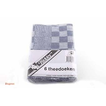 Theedoeken blok 60x65 blauw pak a 6 st.