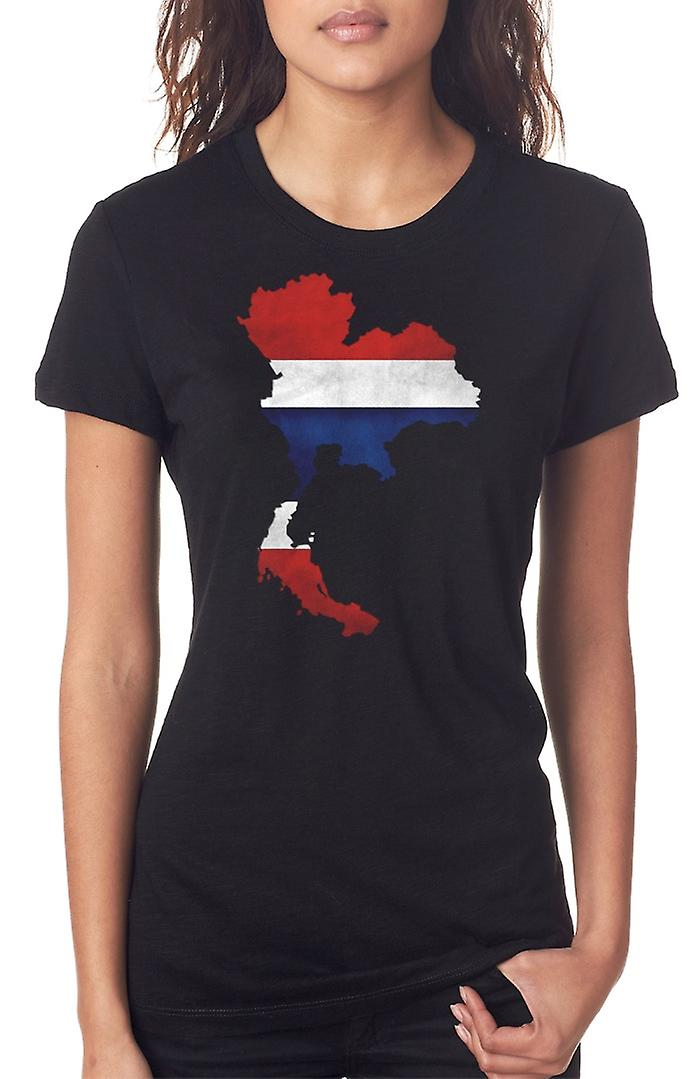 Bandiera Thailandia Thai Mappa Ladies T Shirt