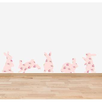 Farbe rosa Shabby Chic floralen Kaninchen Wandtattoo