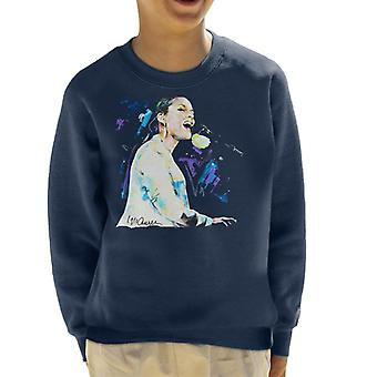 Sidney Maurer Original Portrait Of Alicia Keys On Piano Kid's Sweatshirt