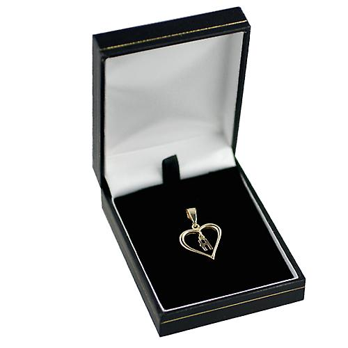 9ct Gold 18x18mm heart Pendant with a hanging Initial H