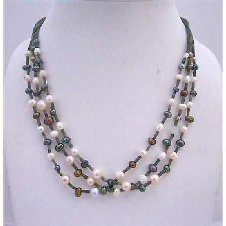 3 Stranded Necklace Freshwater Pearls Metallic Brown Cream & Tumarine
