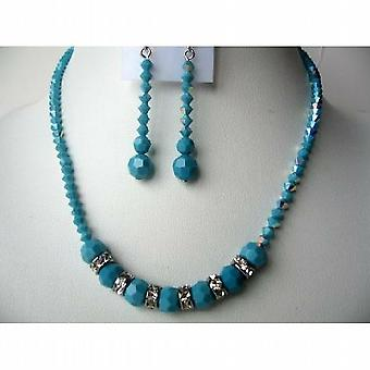 Handcrafted Necklace Set Swarovski Turquoise AB w/ Silver Rondells