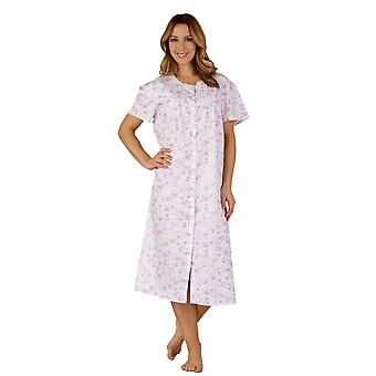 Slenderella ND3207 kvinners bomull vevd lilla lilla natt kjole Loungewear Nightdress