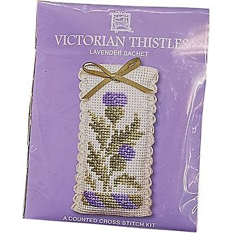 Textile Heritage gezählt Cross Stitch Lavendel Duftkissen - Disteln