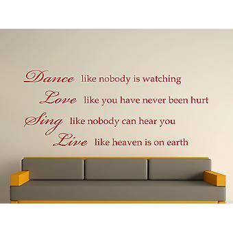 Dance Like Nobody Is Watching Wall Art Sticker - Cherry Red