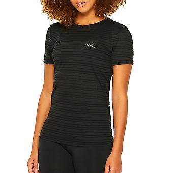 Ellesse Sport Aphotic Womens randig Fitness träning T-Shirt Tee svart