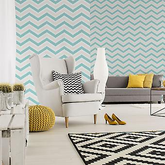 Geometric Wallpaper Modern Glitter Sparkle Chevron Teal Silver White