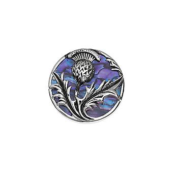 Eternal Collection Thistle Purple Paua Shell Silver Tone Brooch