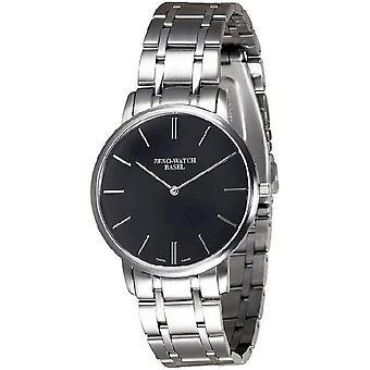 Zeno-watch mens watch flat flatline 2 black 6600Q-c1M