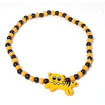 The Olivia Collection Childrens Wooden Beads Elasticated Tiger Necklace