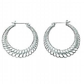 Elements Sterling Silver Open Engraved Creole Hoop Earrings