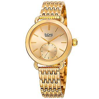 Burgi Women's Quartz Swarovski Crystal Easy-to-Read Rose-Tone Bracelet Watch
