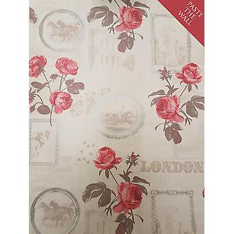 Red Rose Picture Frame Floral Wallpaper Ornamental Vintage Paste Wall Holden