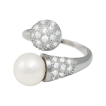 Eternal Collection Triumph White Freshwater Pearl And Cubic Zirconia Sterling Silver Ring