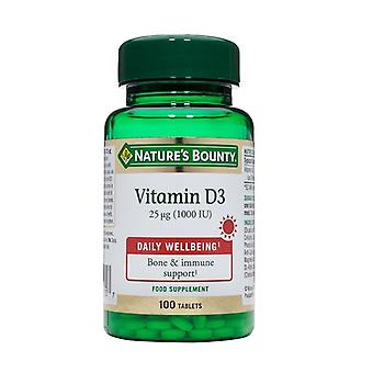 Naturens Bounty vitamin D3 25ug (1000iu) tabletter 100 (N15605)